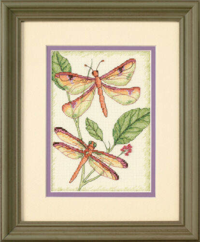 1x Mini Counted Thread cross stitch Dragonfly Duo Sewing Craft Outil Hobby Art