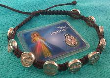 St. Saint Benedict Prayer Bracelet Brown Bracelet From Medjugorje + Holy Card