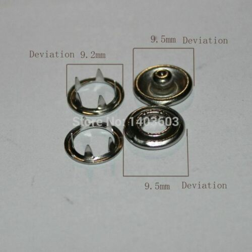 Snap button Sets Silver Tone No Sew Open Ring Snap Press Fastener Buttons 9.5mm