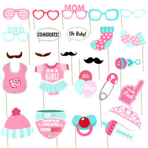 25pcs Baby Shower Photo Booth Props Little Lady Girl New Born Party