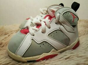 half off db378 69fa8 Details about NIKE AIR JORDAN RETRO 7 OLYMPIC WHITE RED GRAY 304772-125  TODDLER SIZE 7C