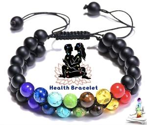 Genuine Double Bracelet Natural Gemstone 7 Chakra Beads Macrame Healing Reiki