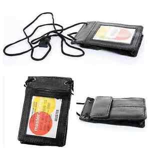 Men's Genuine Leather ID Necklace Wallet Holder Travel Neck Strap Wallet Black