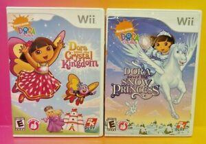 Dora Explorer Crystal Kingdom + Princess - Nintendo Wii Wii U 2 Game Lot Tested