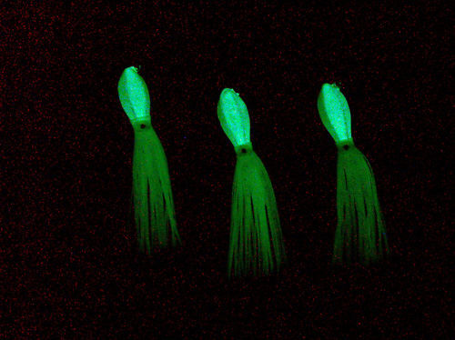 5oz SQUIDTAIL GLOW JIGS 3 LUCANUS STYLE W// SQUID SKIRTS