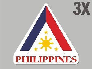 3 Philippines shaped stickers flag crest decal bumper car bike StickervinylCN028