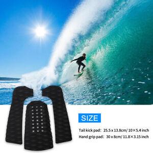 3Pcs-Surfing-Surfboard-Anti-Slip-Traction-Pad-Tailpad-Deck-Grip-Black-EVA-New