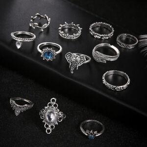 12-Pcs-set-Women-Jewelry-Rhinestone-Elephant-Leaf-Feather-Joint-Ring-Set-LG