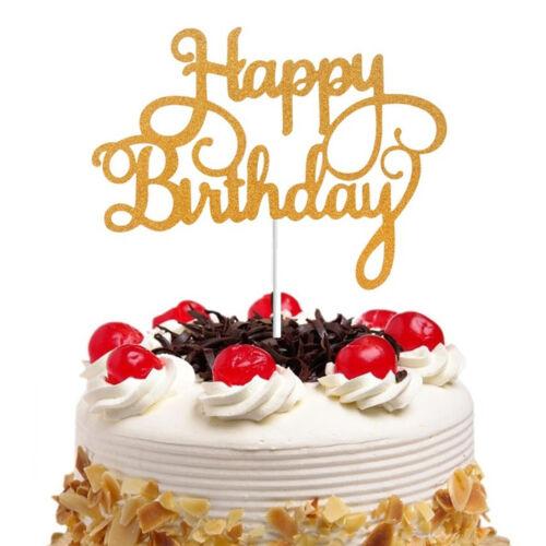 15pcs Shining Happy Birthday Cake Topper papier Décoration Fêtes Fournitures Décoration