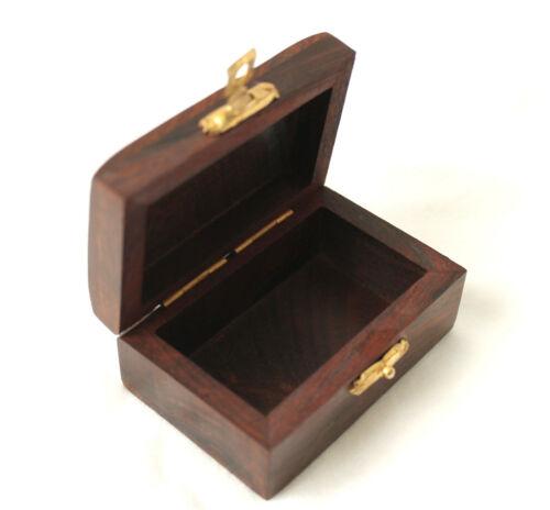 kleine edle Box aus Holz und Messing 7,5 x 5 x 3,7 cm mit Anker
