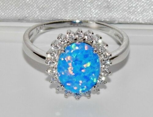 size Q 925 BLUE OPAL /& WHITE ZIRCON LADIES OVAL CLUSTER RING STERLING SILVER