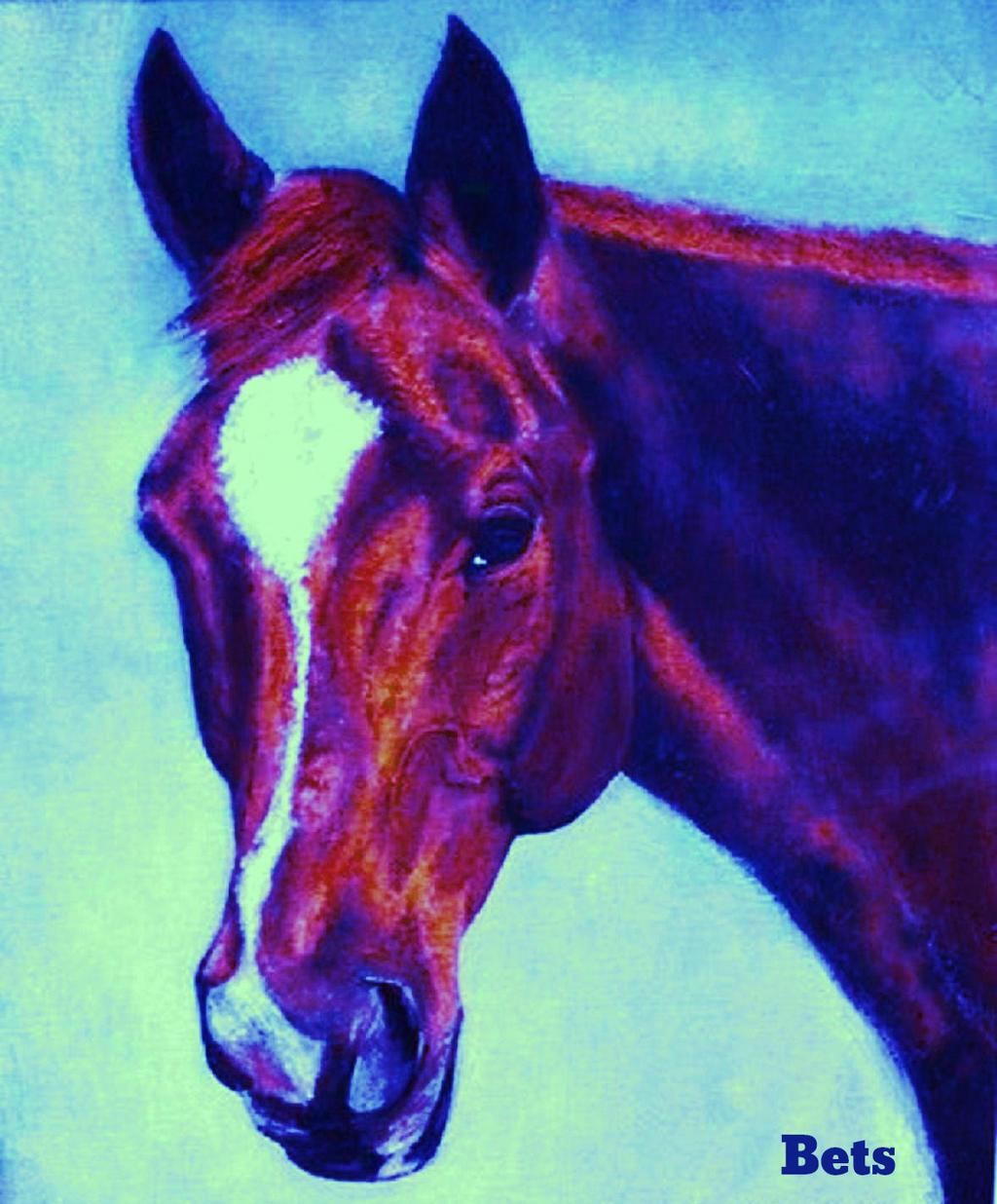 HORSE PRINT Giclee CHESTNUT Horse Horse Horse MADURO artist BETS 5 COLORS print Größe 15 X 18 444186