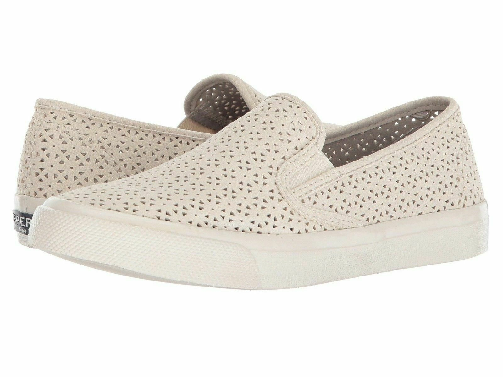Femmes Sperry Top-Sider Nautique Perf Cuir Ivoire Chaussures 6.5 9.5 10 Nib