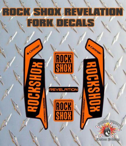 ROCK SHOX Revelation FORK Stickers Decals Mountain Bike Down Hill MTB orange