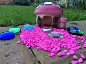 Pink-Mushroom-House-with-Pink-Gravel-amp-Beads-Fairy-Garden-Kit-Accessories