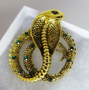 Snake-brooch-gold-plate-green-crystal-rhinestone-vintage-style-Cobra-in-gift-box