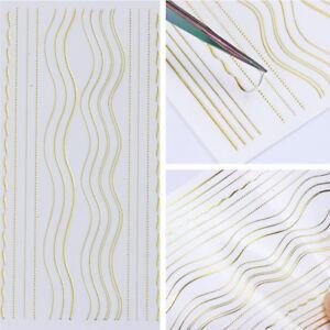 Gold-Metall-3D-Nagel-Aufkleber-Streifen-Lini-Nail-Art-Klebstoff-Transfer-Sticker