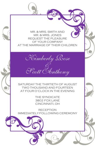 Wedding Invitations Swirls Personalized 50 Invitations /& RSVP Cards Any Colors