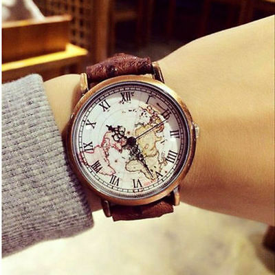 Map Vintage Wrist Watch Earth Watch Roman Numbers Dial Leather Women Men CHI