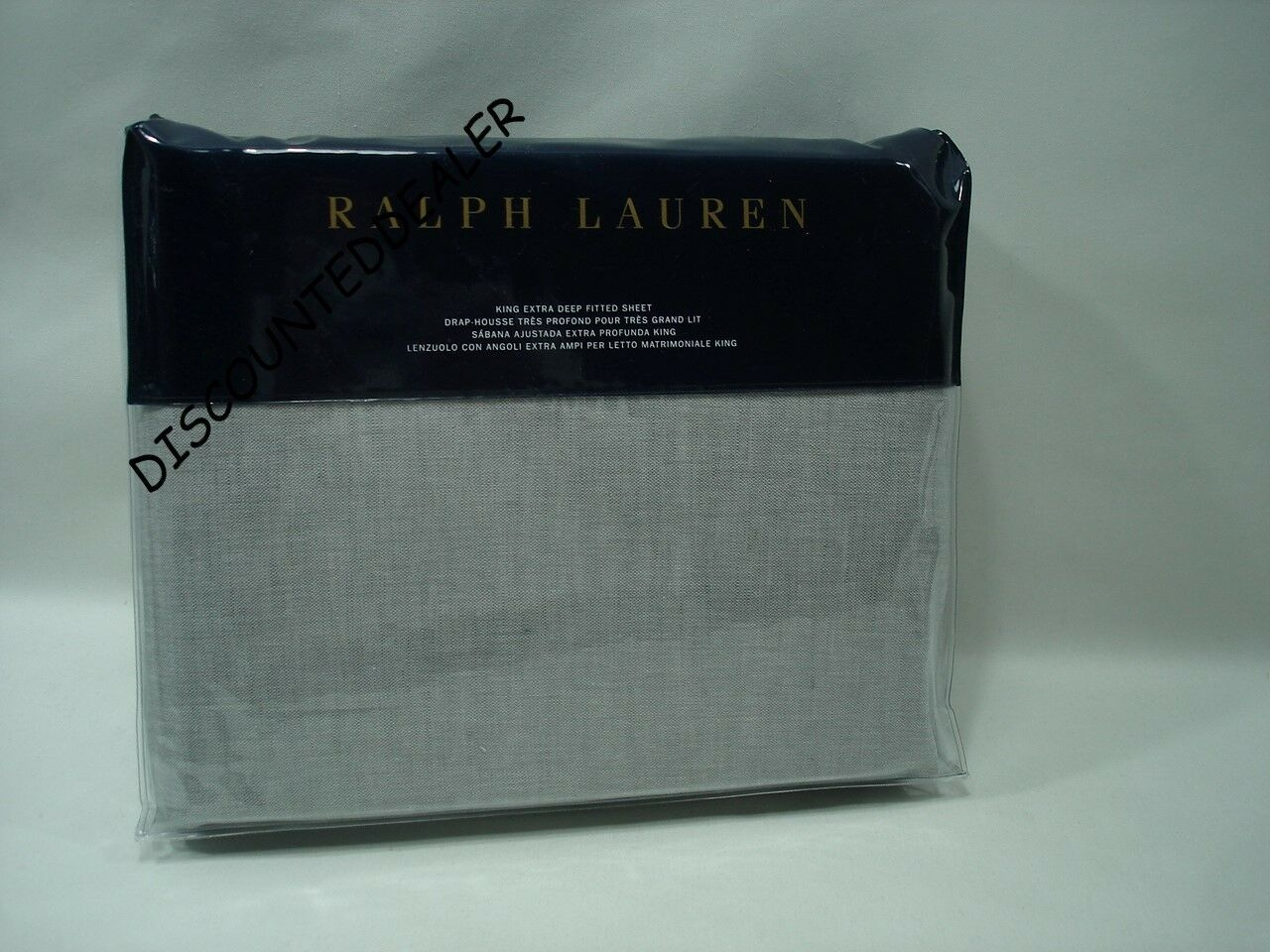 Ralph Lauren Cary GRAPHITE GREY KING FLAT SHEET Cotton Linen NEW