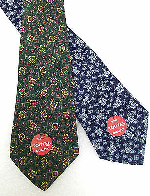 Tootal tie UNUSED vintage 1950s floral BLUE or GREEN tebilized cotton RED LABEL
