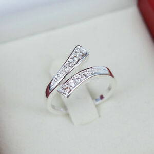 Adjustable-925-Silver-Plated-Rings-Finger-Band-Ring-Charming-Women-039-s-Jewelry