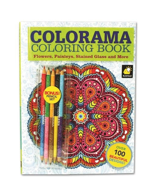 Colorama Coloring Book for Adults with 12 Colored Pencils, Create Something
