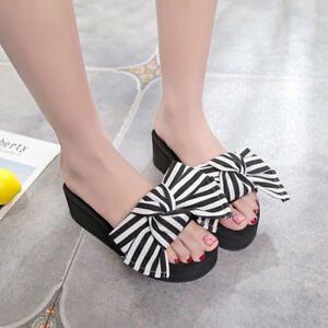 e9a1f3253 Image is loading Women-039-s-Bowknot-Striped-Slippers-Sandals-Summer-