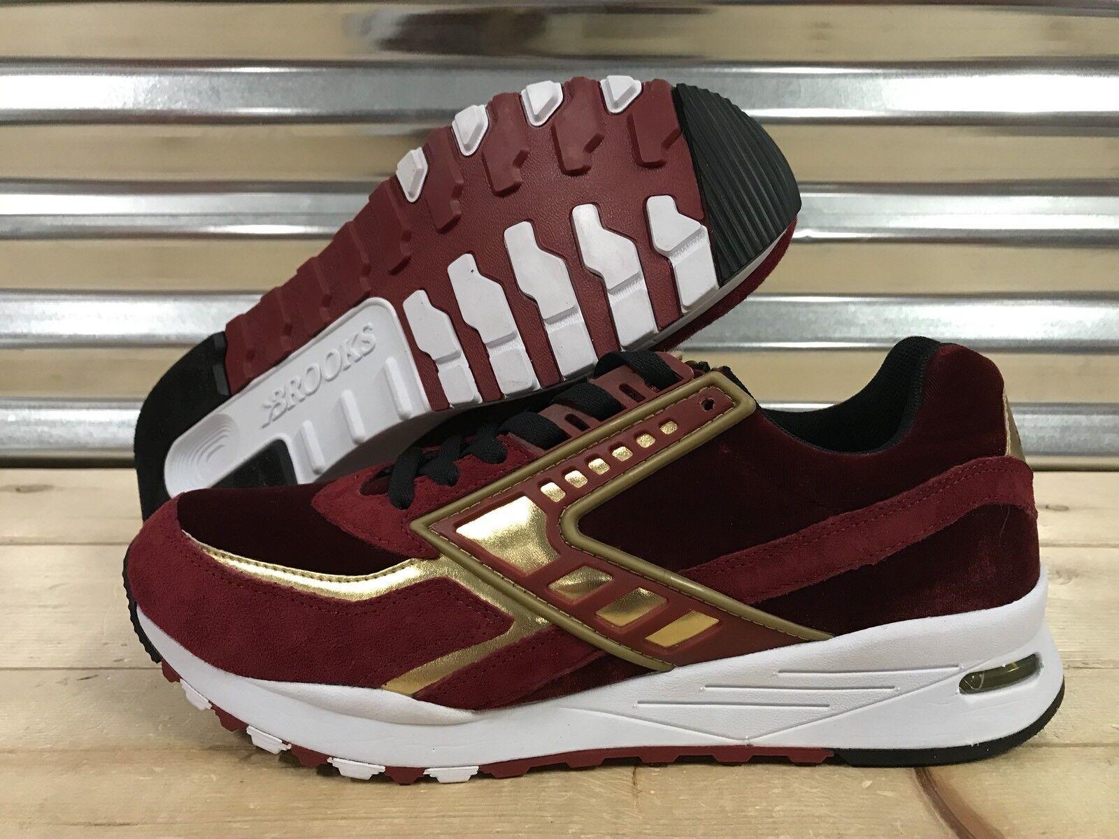 Brooks Regent Lifestyle shoes Red Velvet Metallic gold White SZ ( 1102051D662 )