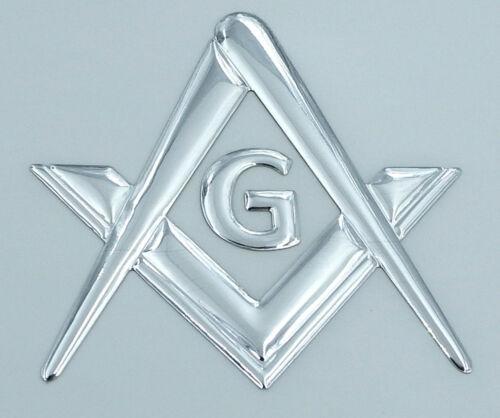"Mason Masonic Chrome silver  decal emblem  3D sticker car bike 2.5/"""