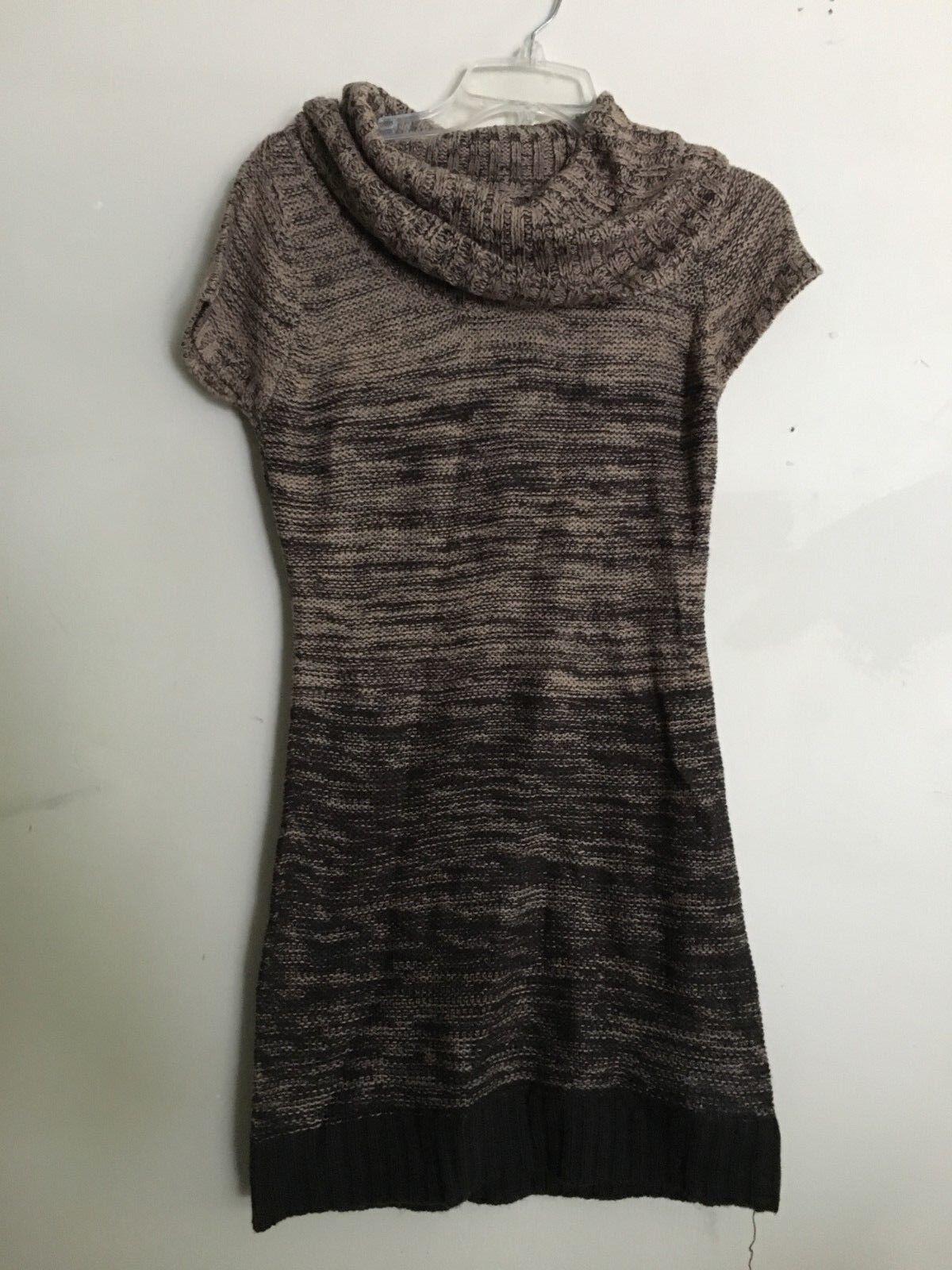 Lei Tan Dark Chocolate Stripe Knit Short Sleeve Sweater Sleeve Women Size M