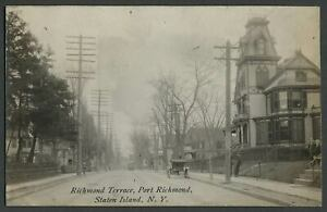 Port-Richmond-Staten-Island-NY-c-1910-RPPC-Photo-Postcard-RICHMOND-TERRACE-Nice
