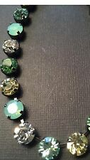 Necklace Green Peridot Opal Gold With Swarovski Crystals in Antique Silver