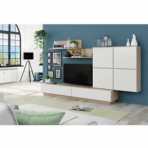Mueble de comedor salon moderno color blanco brillo y for Mueble salon blanco y roble