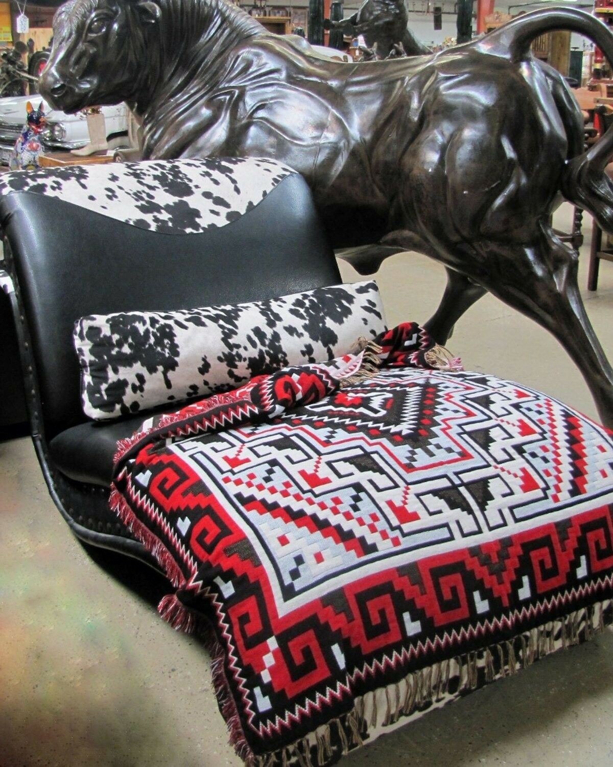 Authentic Mexico Accent Throw Native Style Blanket 4/'x5/' Southwest Two Gray Hill