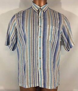 Tasso-Elba-Island-button-front-Shirt-short-sleeve-LARGE-Linen-blend-Striped