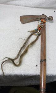 ANTIQUE-OLD-IRON-HAND-AXE-HATCHET-STEEL-HEAD-WOOD-primitives-TOOL-TOMAHAWK