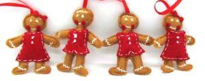 Handmade-lot-of-4-Felt-Christmas-Ornament-Dolls-Gingerbread-Man-amp-Woman-2-Sets
