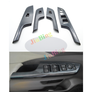 4Pcs For Honda CRV CR-V 2012-2016 Carbon Fiber Window Control Panel Cover Trim c