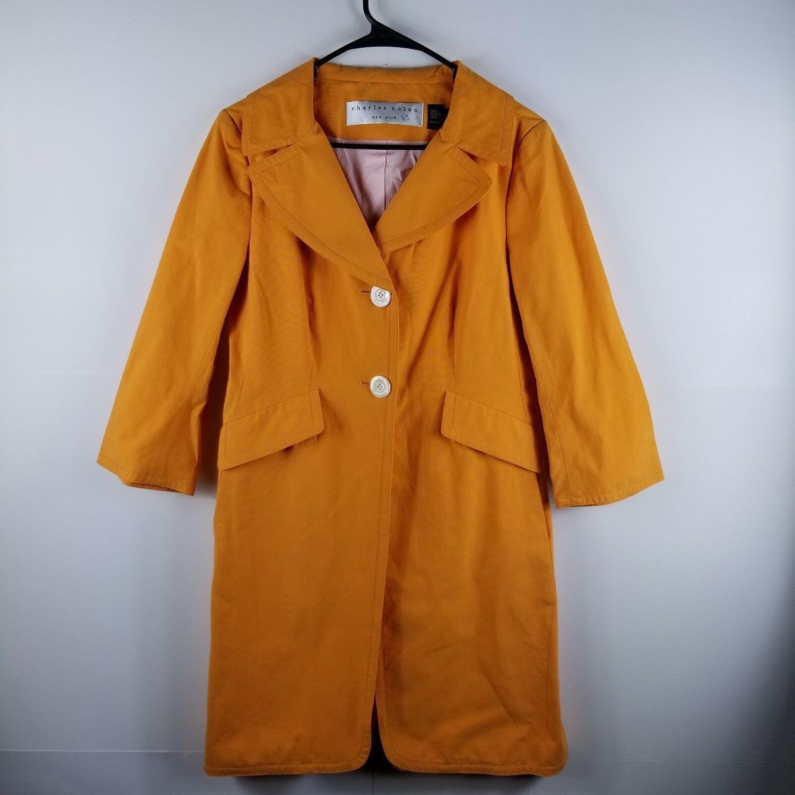 Charles Nolan Women Trench Coat Button Down Lined  Cotton orange 8