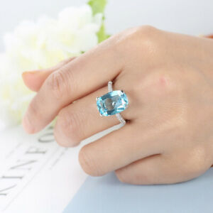 Awesome Engagement Wedding Chess Mens Ring 14K Rose Gold Plated Round Cut Blue Aquamarine