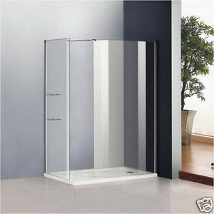 Walk-in-Wet-Room-Shower-Enclosure-6mm-Glass-Screen-Cubicle-Side-Panel-Stone-Tray