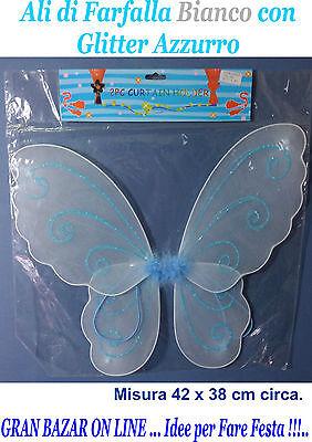 Ali Farfalla Bianco Con Glitter Azzurro In Tessuto Per Costume Festa Spettacolo