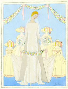1930s-French-Pochoir-Max-Ninon-Print-Art-Deco-Bride-w-Bridesmaids-White-Dress
