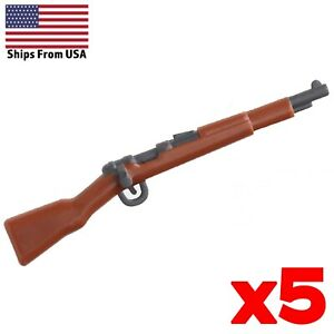 LEGO Guns Kar98 Rifle Painted Lot of 5 WWII Army Soldier Military Weapon Pack