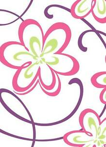 Wallpaper-Modern-Mod-Bright-Fun-Large-Retro-Floral-Glitter-Pink-Green-Purple