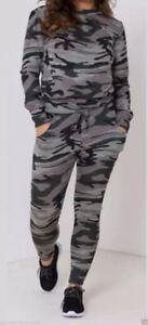 -womens Camouflage Print Marl Knit Tracksuit Loungewear Top & Bottoms Schnelle WäRmeableitung