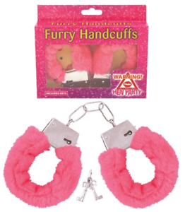 Pink Fluffy Handcuffs Real Working Lock and Keys Fancy Dress
