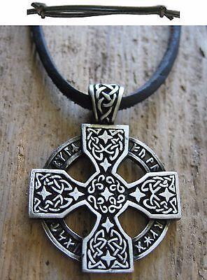 Gewidmet Runenkreuz Amulett Halskette Kelten Leder Herren Schwarz Kette Kelten Neu Kreuz Hitze Und Durst Lindern.