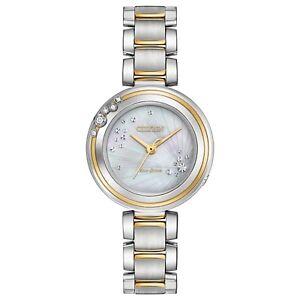 Citizen-Eco-Drive-Women-039-s-Carina-Diamond-Accents-Two-Tone-28mm-Watch-EM0464-59D